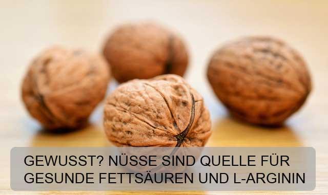 Neben gesunden Fettsäuren enthalten Nüsse extrem viel L-Arginin.